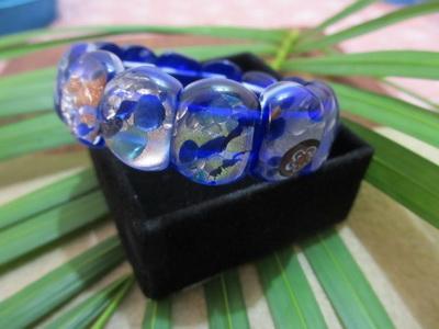 Gelang batu mata kucing biru motif