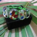 Gelang batu mata kucing hijau motif