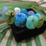 Gelang batu mata kucing warna warni motif