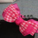 Bando pita motif kotak satin pink