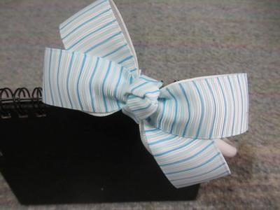 Bando Pita Grosgrain motif garis biru