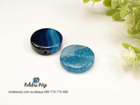 1 Buah Batu Manau Bundar Biru 2,2 cm BT14