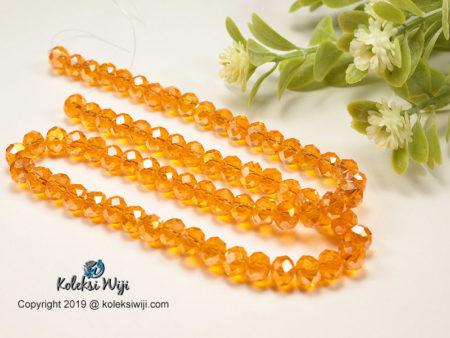 1 Untai Kristal Ceko Donat Bening 8 mm Orange K3