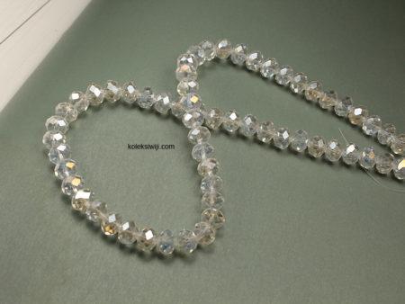 1 Untai Kristal Ceko Donat Bening 8 mm Putih K4