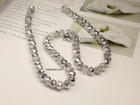 1 Untai Kristal Ceko Donat Bening 8 mm Putih Silver K18
