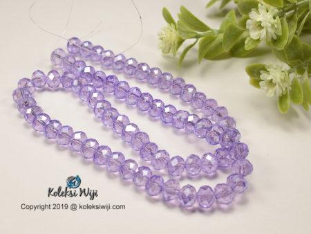 1 Untai Kristal Ceko Donat Bening 8 mm Ungu Lavender K16