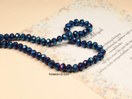 1 Untai Kristal Ceko Donat Biru Metalik 8 mm K43