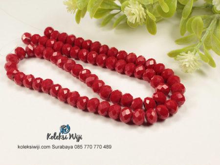 1 Untai Kristal Ceko Donat Opaque 8 mm Merah Tua K56