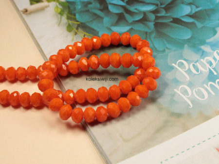 1 Untai Kristal Ceko Donat Opaque 8 mm Orange K60
