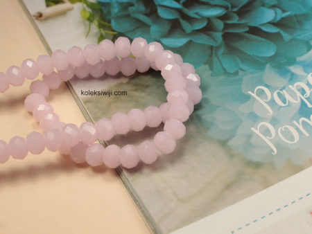 1 Untai Kristal Ceko Donat Opaque 8 mm Pink Muda K50