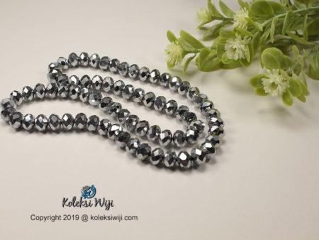 1 Untai Kristal Ceko Donat Silver Metalik 8 mm K42