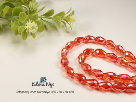 1 Untai Kristal Ceko Tetes 8 mm Orange K83