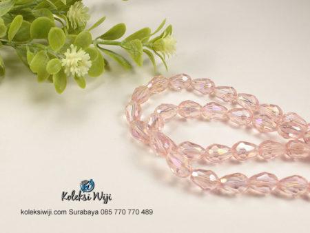 1 Untai Kristal Ceko Tetes 8 mm Pink K80