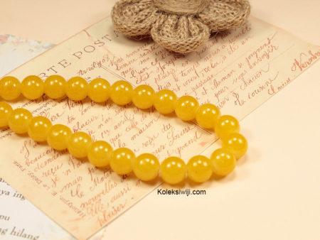 1 Untai Manik Kaca Bulat Kuning 10 mm K34