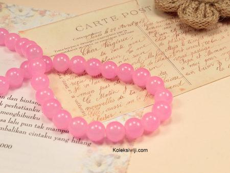 1 Untai Manik Kaca Bulat Pink 10 mm K35