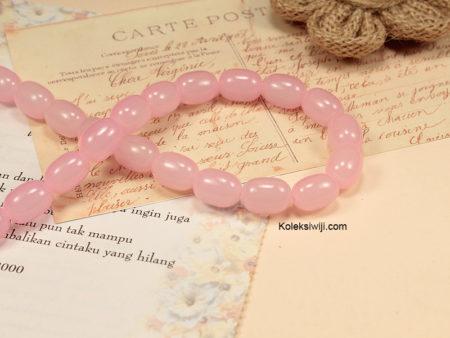 1 Untai Manik Kaca Oval Pink 10 x 12 mm K22