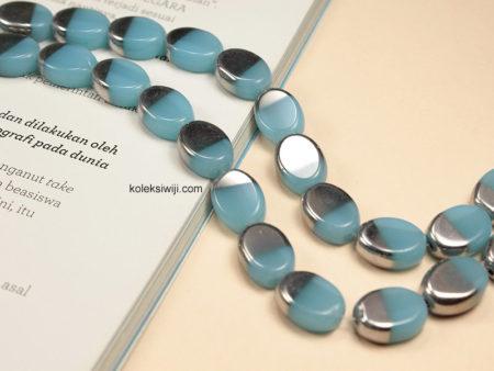 1 Untai Manik Kaca Oval Silver Biru Muda 10 mm K69
