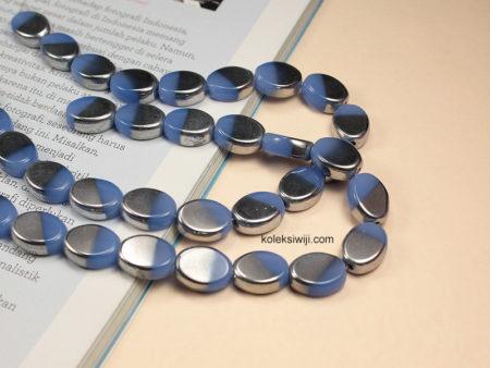 1 Untai Manik Kaca Oval Silver Biru langit 10 mm K74