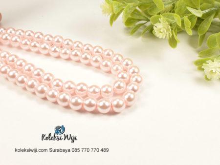 1 Untai Mutiara Sintetis Bulat 8 mm Baby Pink MS7