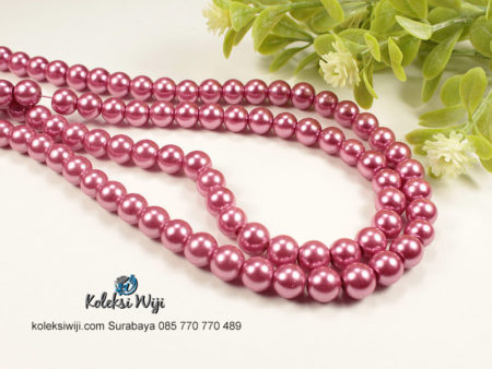 1 Untai Mutiara Sintetis Bulat 8 mm Dusty Pink MS12