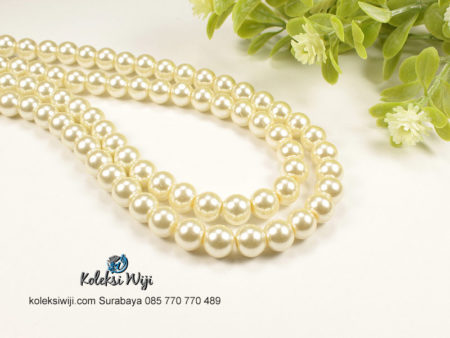 1 Untai Mutiara Sintetis Bulat 8 mm Off White MS18
