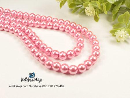 1 Untai Mutiara Sintetis Bulat 8 mm Pink Ayu MS21