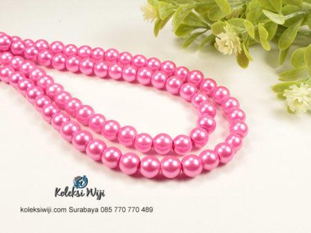 1 Untai Mutiara Sintetis Bulat 8 mm Pink MS9