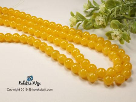 12 Butir Manik Kaca Bulat Kuning 10 mm K34