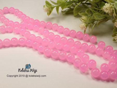 12 Butir Manik Kaca Bulat Pink 10 mm K35