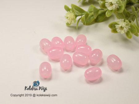12 Butir Manik Kaca Oval Pink 10 x 12 mm K22