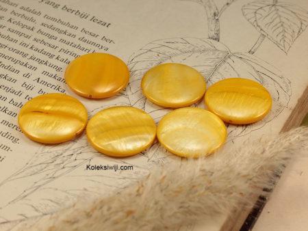 5 Biji Manik Kerang Koin 2,3 cm Kuning G11