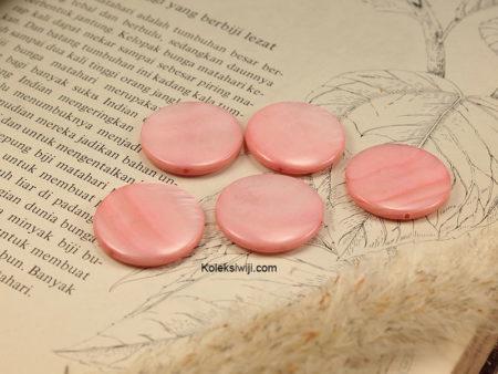 5 Biji Manik Kerang Koin 2,3 cm Pink G10