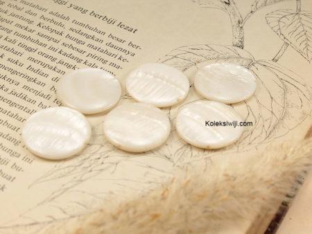 5 Biji Manik Kerang Koin 2,3 cm Putih G9