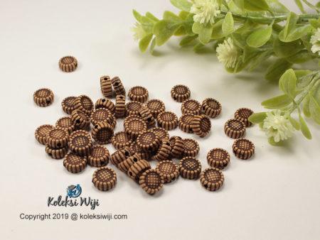 50 Butir Manik Bunga Coklat 10 mm AK8