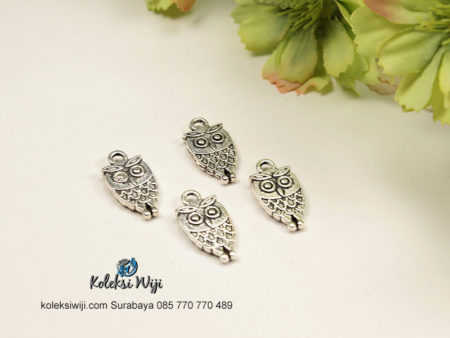 3 Buah Charm Owl Nikel 2x1 cm BP41