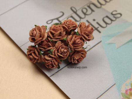 1 Ikat Aplikasi Bunga Kertas 1 cm Coklat Tua KS11