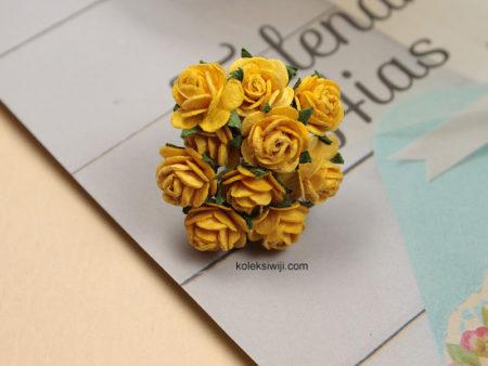 1 Ikat Aplikasi Bunga Kertas 1 cm Kuning KS07