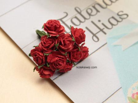 1 Ikat Aplikasi Bunga Kertas 1 cm Merah KS12