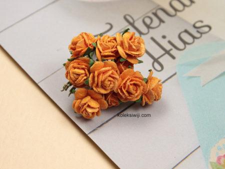 1 Ikat Aplikasi Bunga Kertas 1 cm Orange KS02
