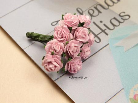 1 Ikat Aplikasi Bunga Kertas 1 cm Pink KS10