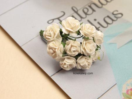 1 Ikat Aplikasi Bunga Kertas 1 cm Putih KS03