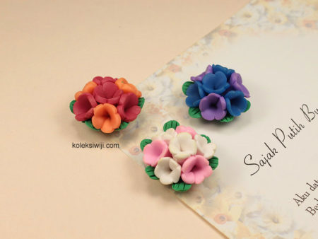3 Buah Clay Bunga Buket 2,5 cm CY14