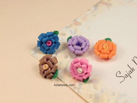 6 Buah Clay Bunga Kriwil 1,5 cm CY16