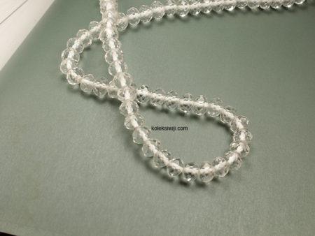 1 Untai Kristal Ceko Donat Isi 8 mm Putih K110