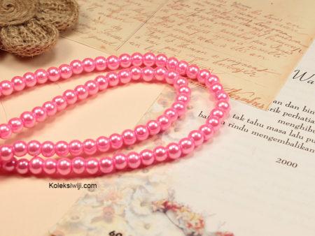 1 Untai Mutiara Sintetis Bulat 6 mm Pink Ayu MS42