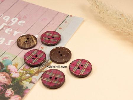 10 Buah Kancing Batok Bundar Pink 2 cm BTK06