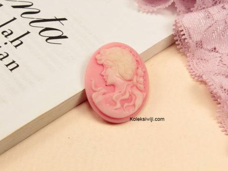 1 Buah Resin Cameo Vintage Pink RS04