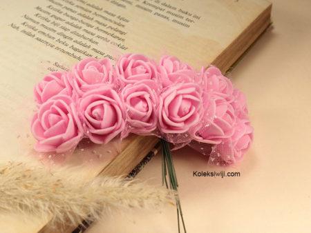 1 Ikat Bunga Mawar Spon Pink IK22