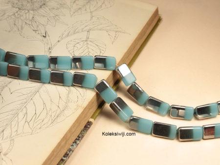 1 Untai 14 Manik Kaca Tabung Hitam Silver 2 cm K125