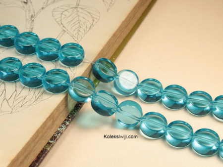 1 Untai 15 Manik Kaca Bundar Biru 12 mm K132
